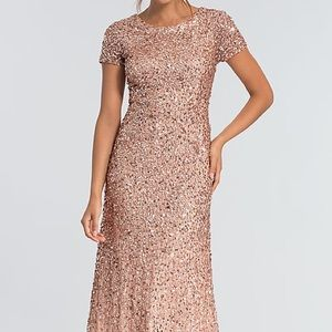 Adrianna Papell rose gold sequin/beaded dress